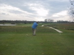 Kevin Tirsch hits his tee shot on the 1st hole